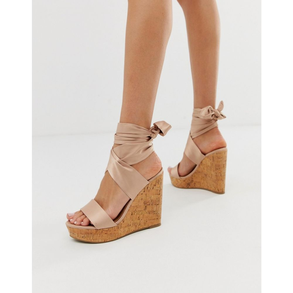 エイソス ASOS DESIGN レディース シューズ・靴【Twist tie leg cork wedges】Pale pink