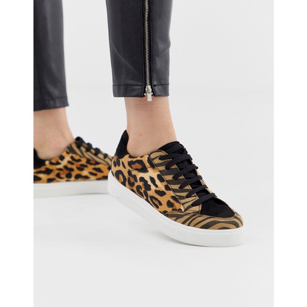エイソス ASOS DESIGN レディース シューズ・靴 スニーカー【Dove lace up trainers in leopard mix】Animal mix