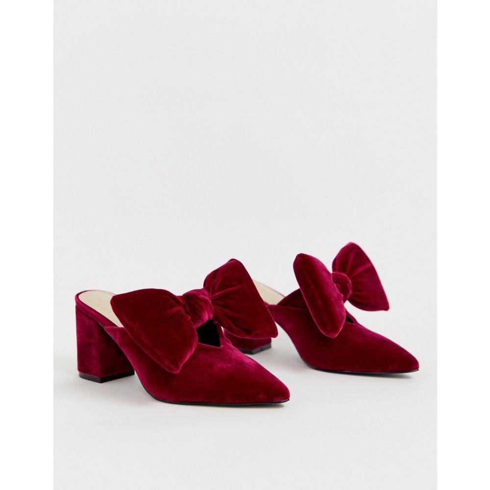エイソス ASOS DESIGN レディース シューズ・靴 サンダル・ミュール【Sweetness block heel bow mules in berry】Berry