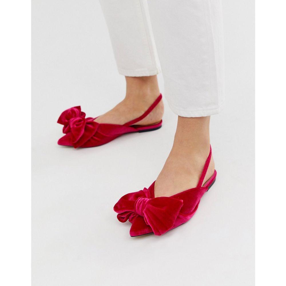 エイソス ASOS DESIGN レディース シューズ・靴 スリッポン・フラット【Lips bow slingback ballet flats in pink velvet】Pink velvet