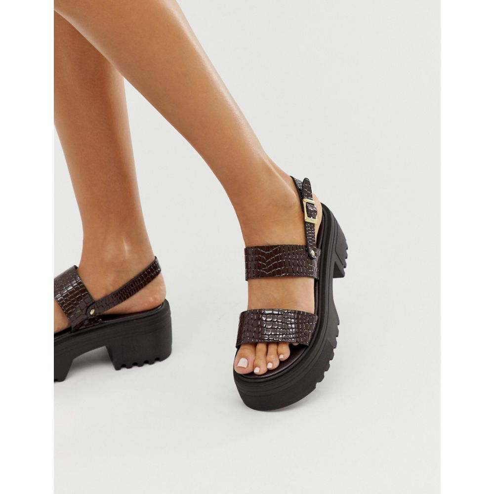 エイソス ASOS DESIGN レディース シューズ・靴 サンダル・ミュール【Finalist chunky flat sandals in burgundy patent croc】Burgundy patent croc
