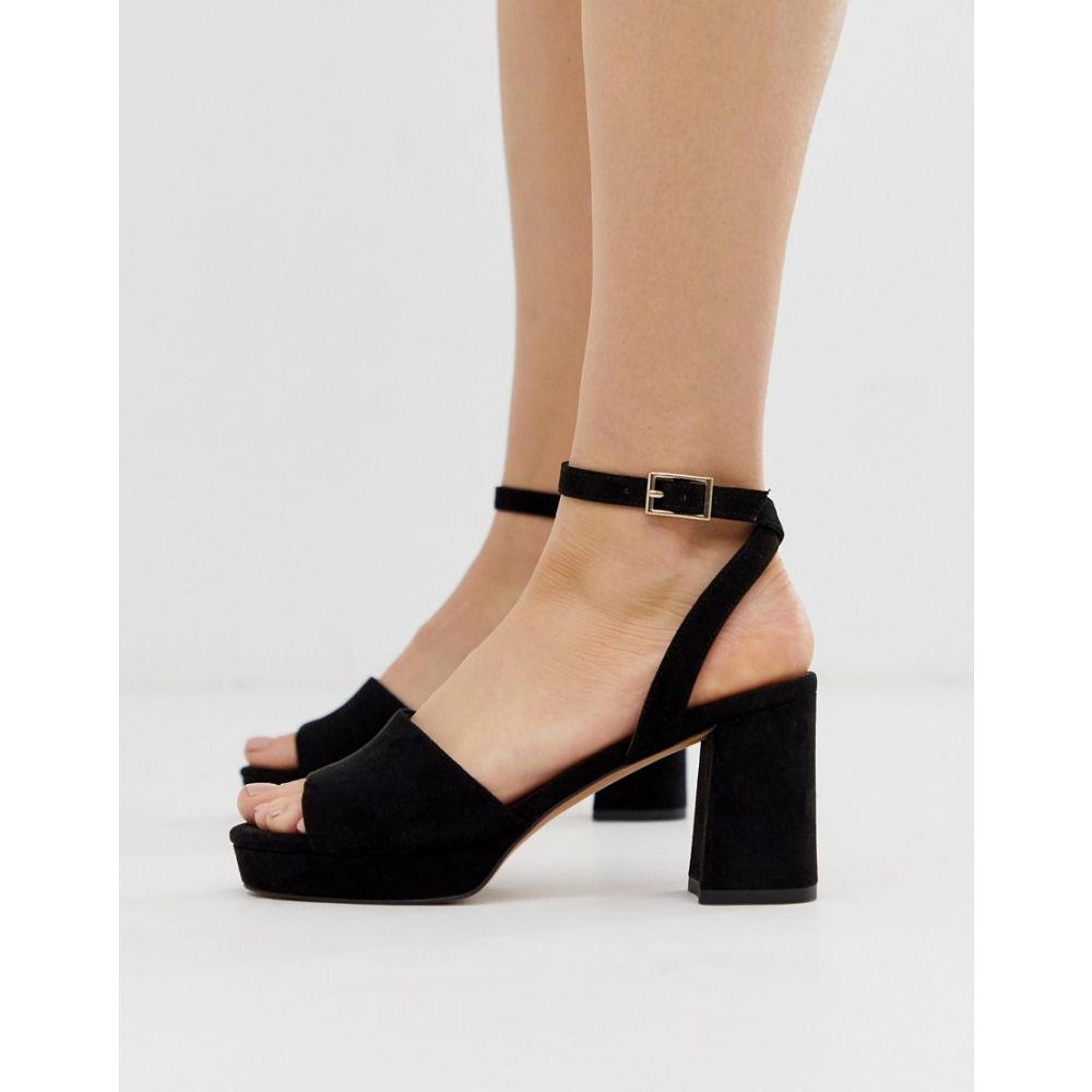 エイソス ASOS DESIGN レディース シューズ・靴 サンダル・ミュール【Hockey platform heeled sandals in black】Black