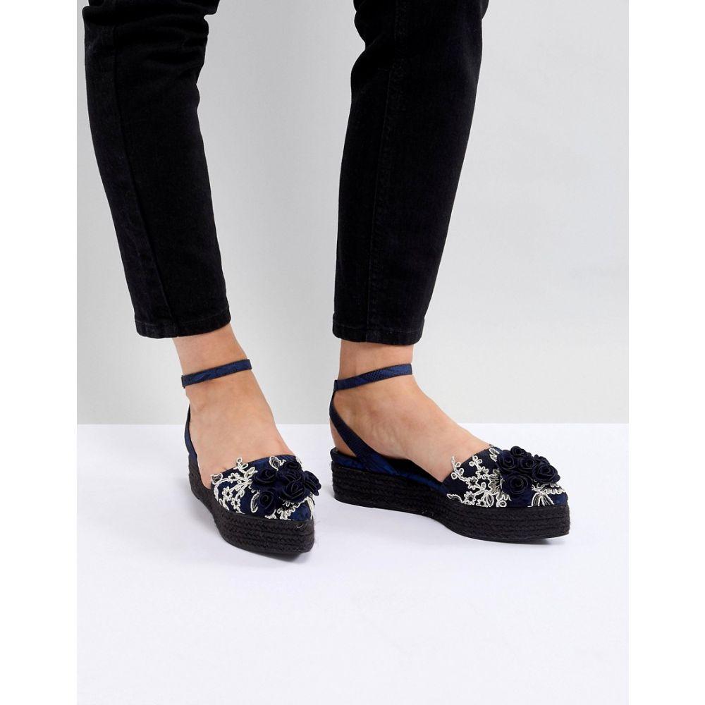エイソス レディース シューズ・靴 エスパドリーユ【DESIGN Jacuzzi Premium Pointed Espadrille Flatforms】Navy lace