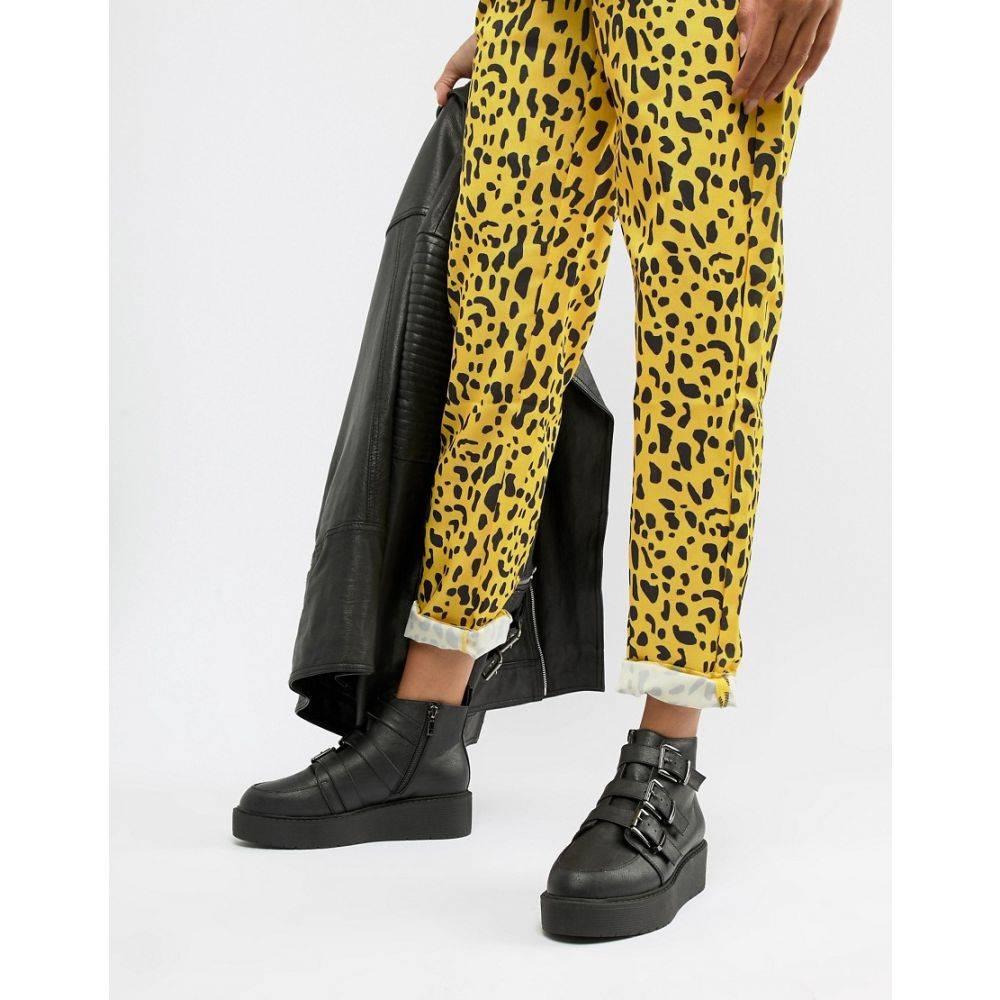 エイソス ASOS DESIGN レディース シューズ・靴 ブーツ【Ahoy chunky buckle ankle boots】Black