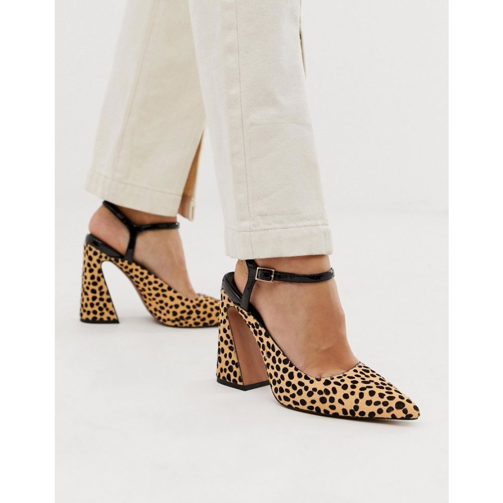 エイソス ASOS DESIGN レディース シューズ・靴 ヒール【Pioneer premium leather heels in animal print】Leopard pony
