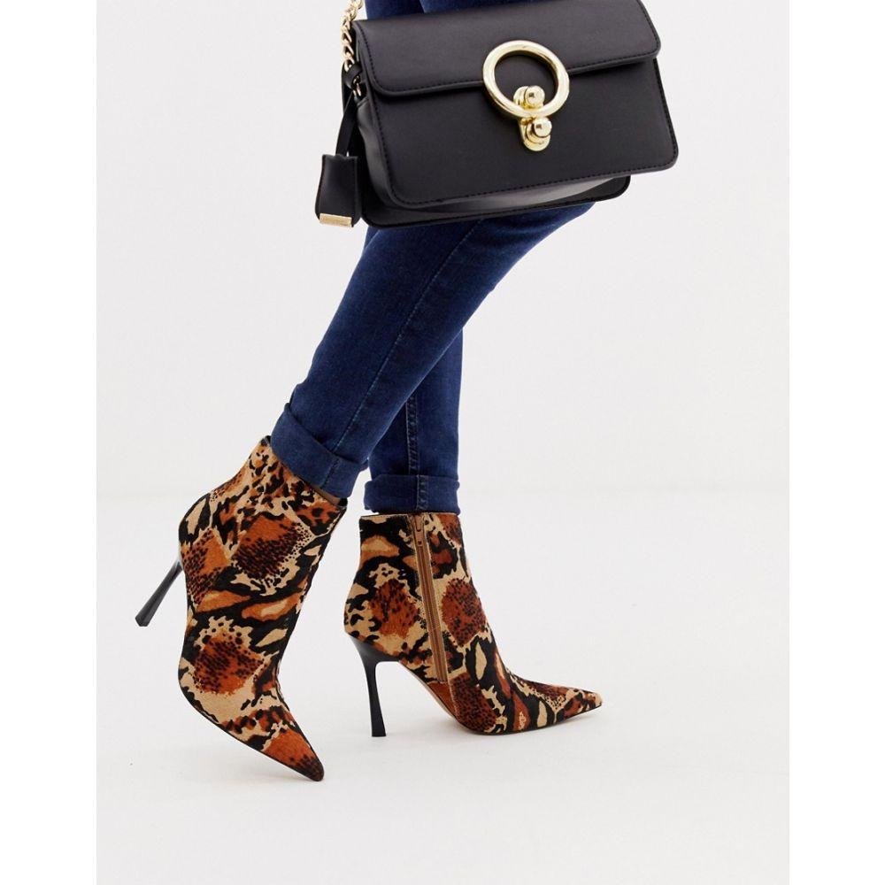 エイソス ASOS DESIGN レディース シューズ・靴 ブーツ【Evon leather heeled boots】Leopard pony