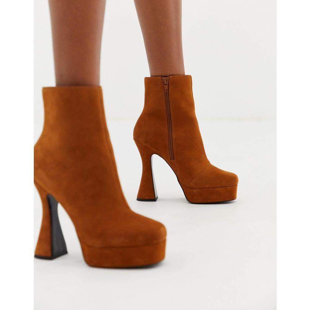エイソス ASOS DESIGN レディース シューズ・靴 ブーツ【Equality suede platform boots】Tan suede