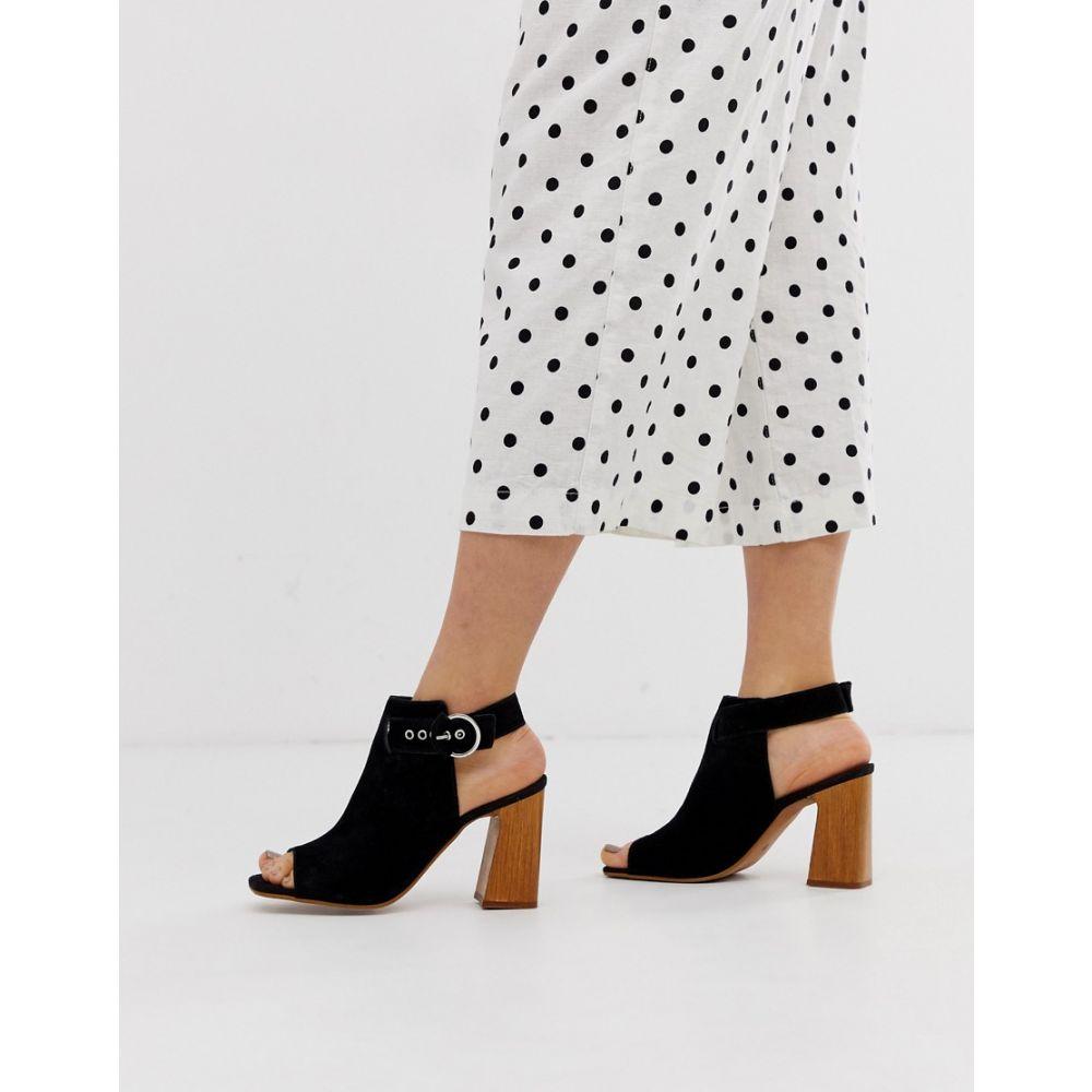 エイソス ASOS DESIGN レディース シューズ・靴 ブーツ【Hacienda leather peep toe boots】Black suede