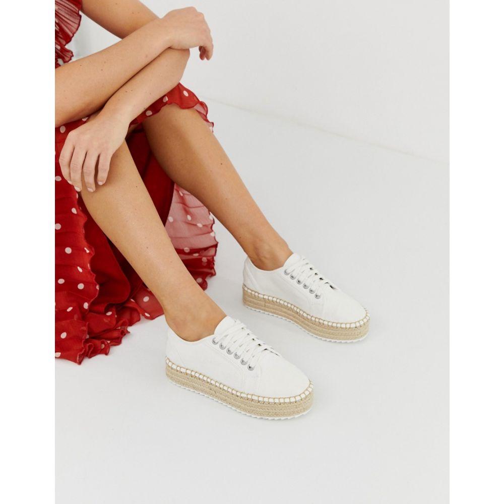 エイソス ASOS DESIGN レディース シューズ・靴 エスパドリーユ【Jakie lace up espadrille trainers】White