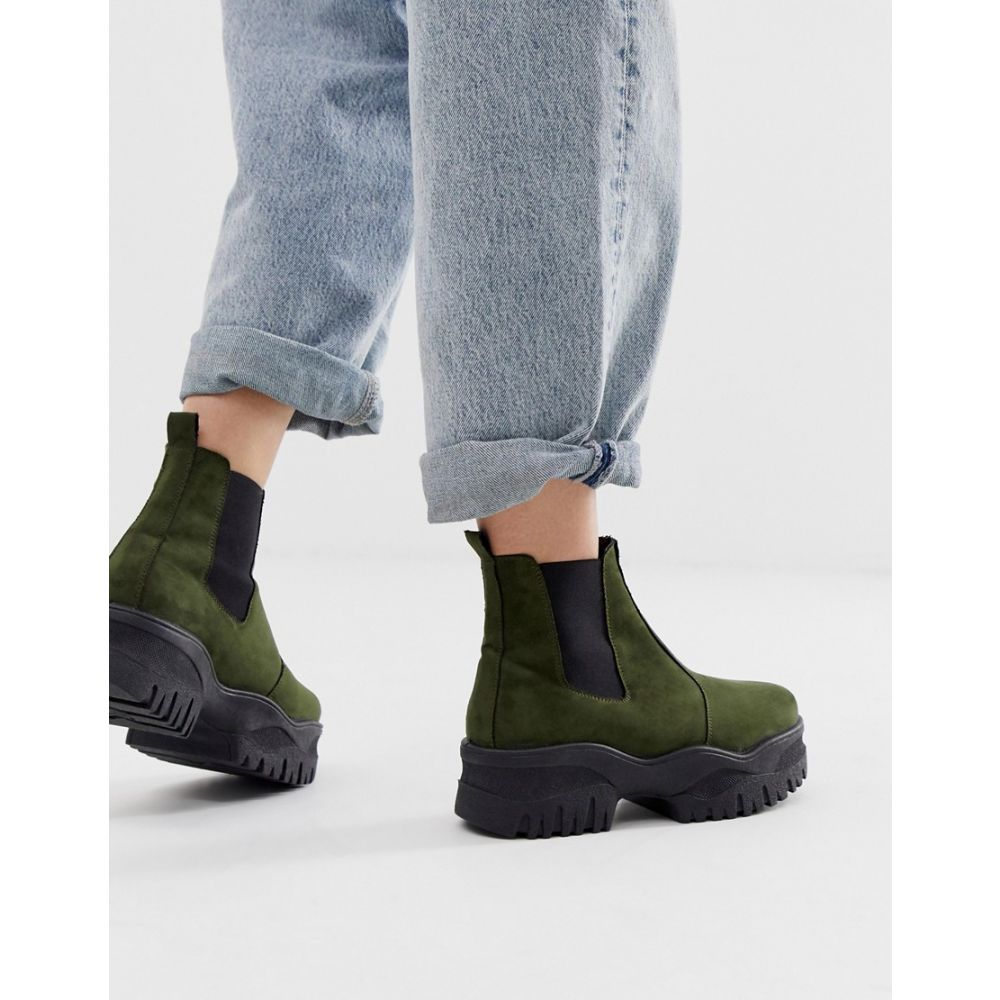 ASOS chelsea ブーツ【Alvera boots】Khaki chunky レディース エイソス シューズ・靴 DESIGN
