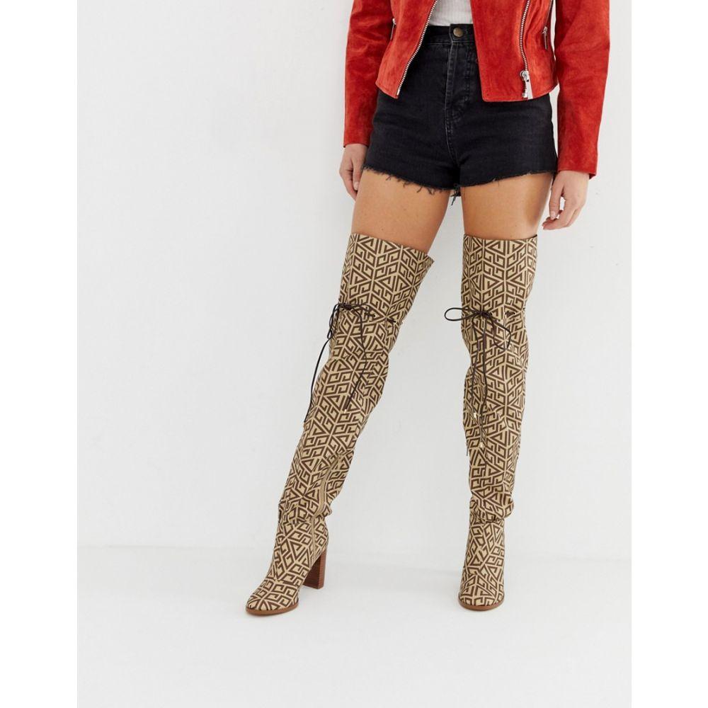 エイソス ASOS DESIGN レディース シューズ・靴 ブーツ【Kyla thigh high boots】Brown