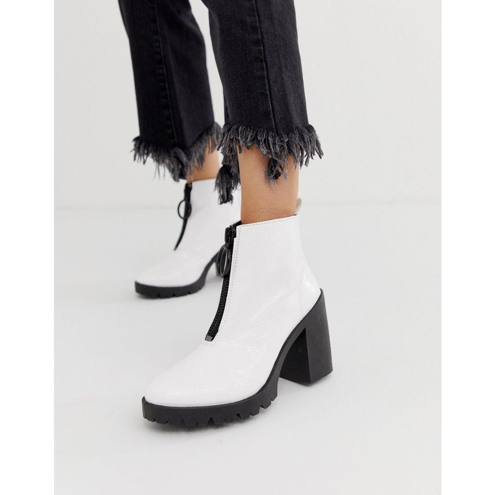 エイソス ASOS DESIGN レディース シューズ・靴 ブーツ【Rakel patent chunky heeled boots in white croc】White croc