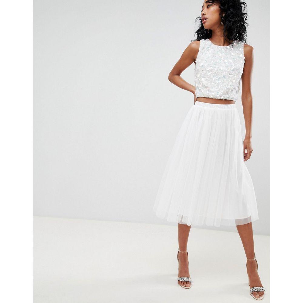 レース アンド ビーズ Lace & Beads レディース スカート ひざ丈スカート【tulle midi skirt in white】White