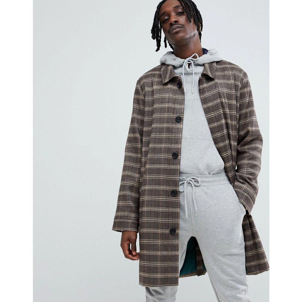 ニューカントリー The New County メンズ アウター コート【mac jacket in check】Brown