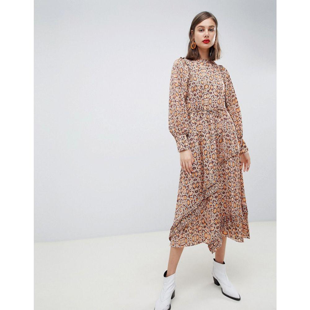 マンゴ Mango レディース ワンピース・ドレス ワンピース【synch waist maxi dress in snake print】Brown