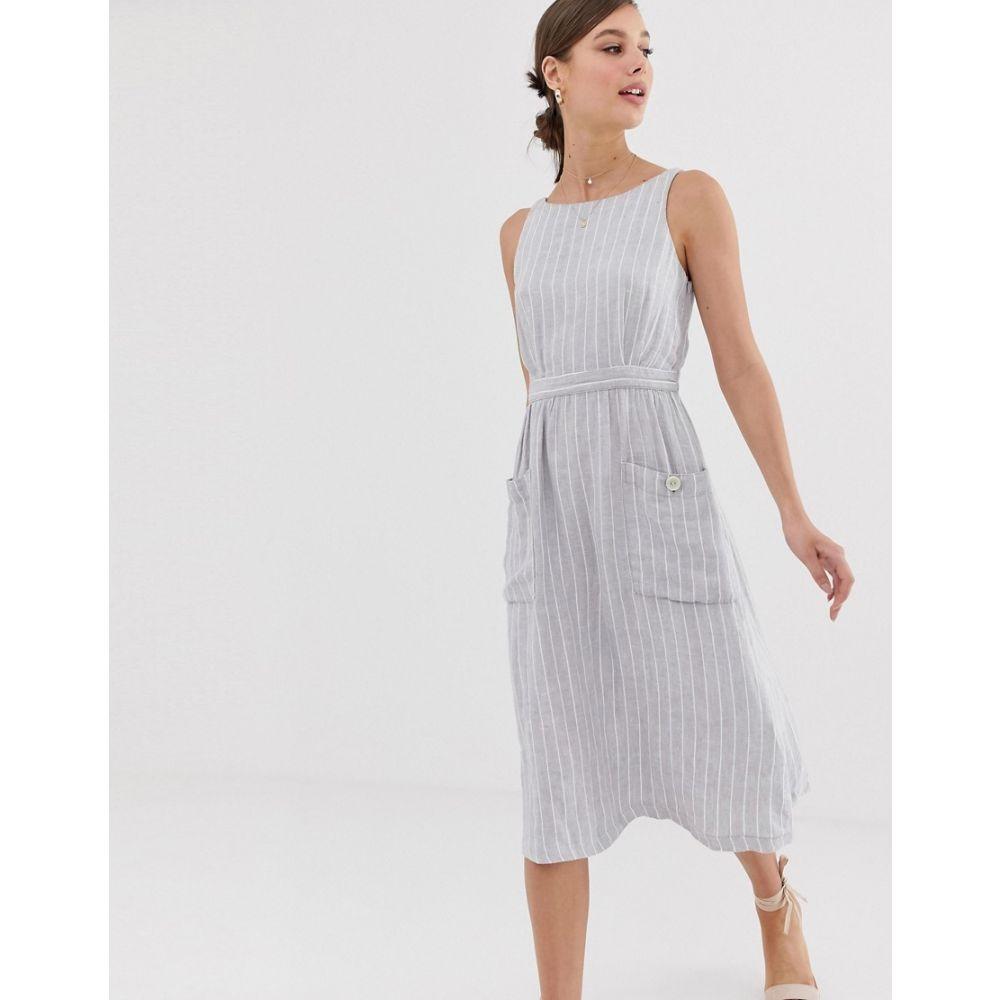 マンゴ Mango レディース ワンピース・ドレス ワンピース【striped linen dress with pockets in blue】Medium blue