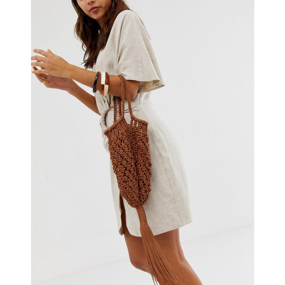 マンゴ Mango レディース バッグ braided tassle handheld bag in brown BrownEHD29IW