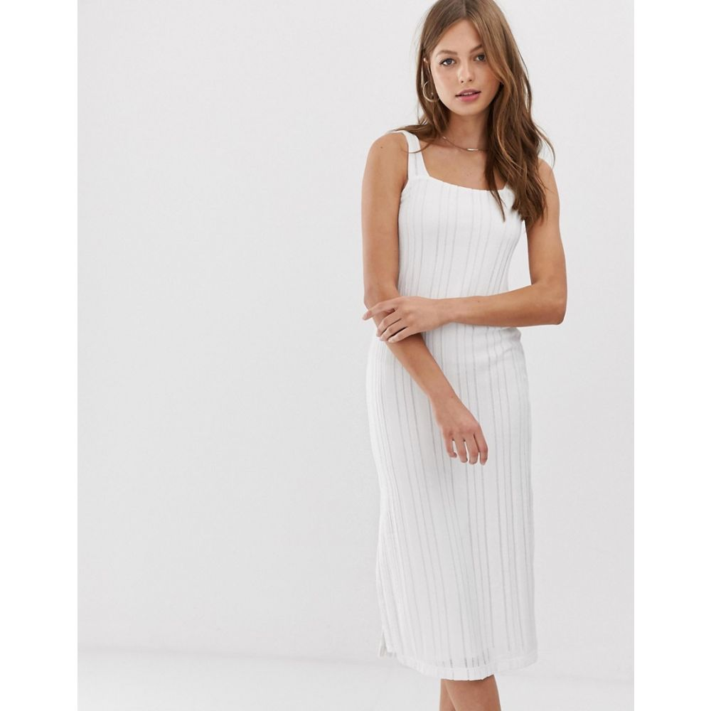 マンゴ Mango レディース ワンピース・ドレス ワンピース【square neck midi dress in white】White