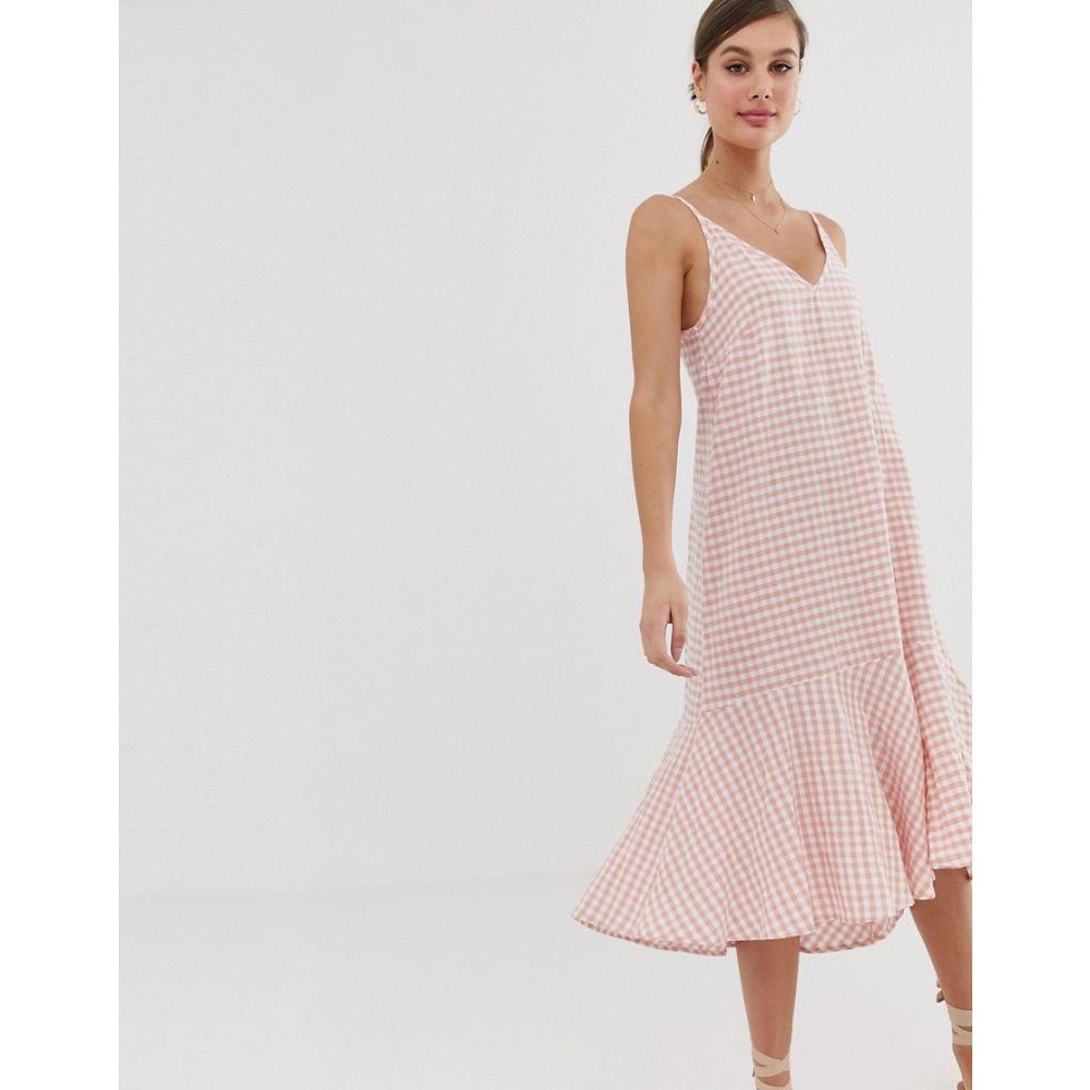 マンゴ Mango レディース ワンピース・ドレス ワンピース【check cami dress in pink】Multi