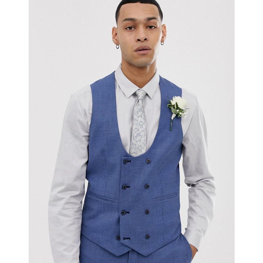エイソス ASOS DESIGN メンズ トップス ベスト・ジレ【wedding super skinny suit waistcoat in micro texture in mid blue】Mid blue