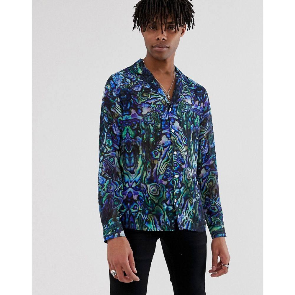 エイソス ASOS EDITION メンズ トップス【regular fit sheer patterned shirt with deep revere】Blue