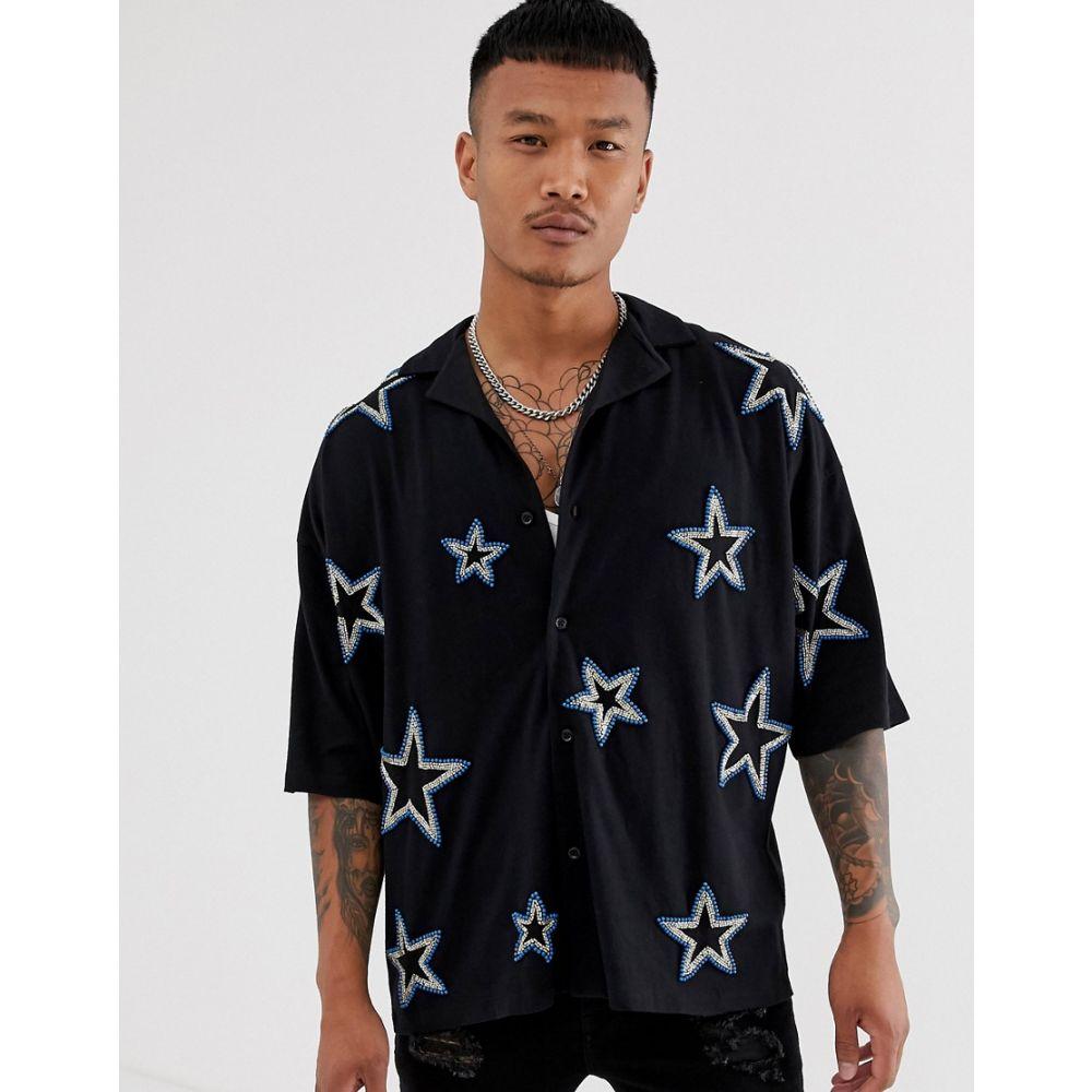 エイソス ASOS DESIGN メンズ トップス ポロシャツ【oversized revere collar jersey shirt with all over star embellishment】Black