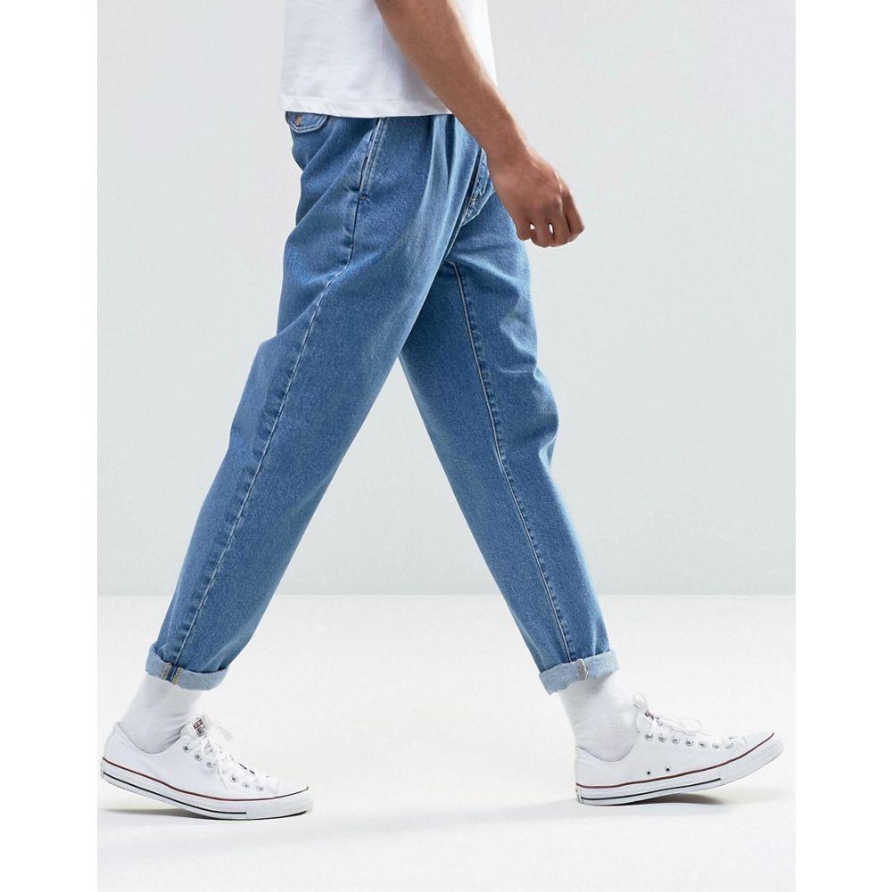 エイソス メンズ ボトムス・パンツ ジーンズ・デニム【ASOS Double Pleat Straight Leg Jean In Light Blue】Light blue