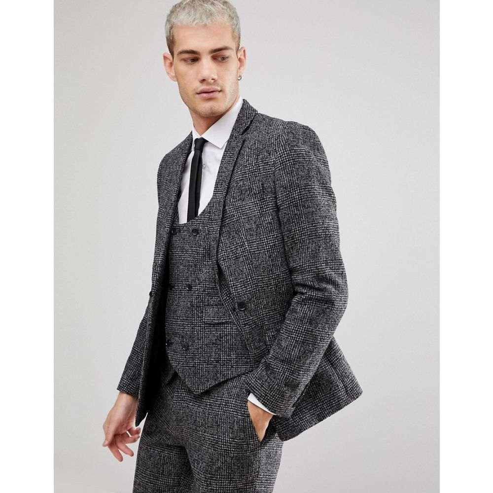エイソス メンズ アウター スーツ・ジャケット【ASOS Slim Suit Jacket In Moons Wool Rich Monochrome Check】Black