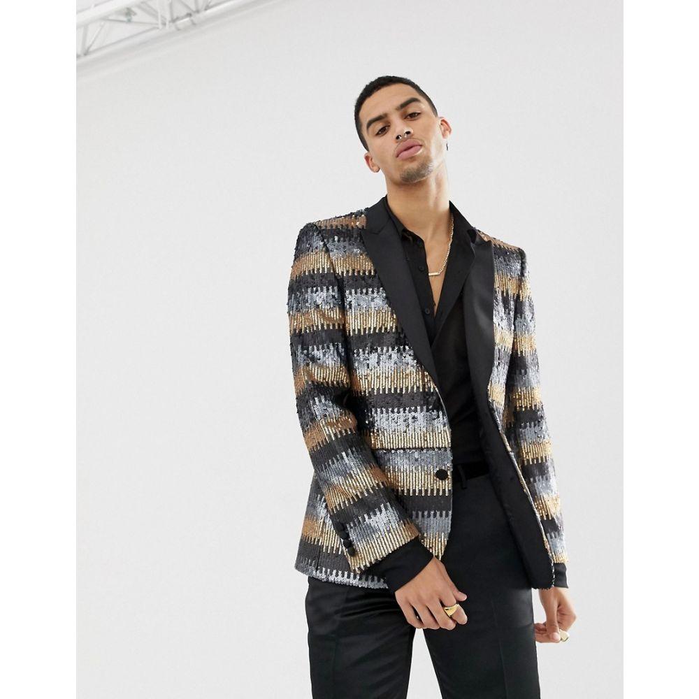 エイソス ASOS EDITION メンズ アウター スーツ・ジャケット【skinny suit jacket in grey and gold sequins】Gold