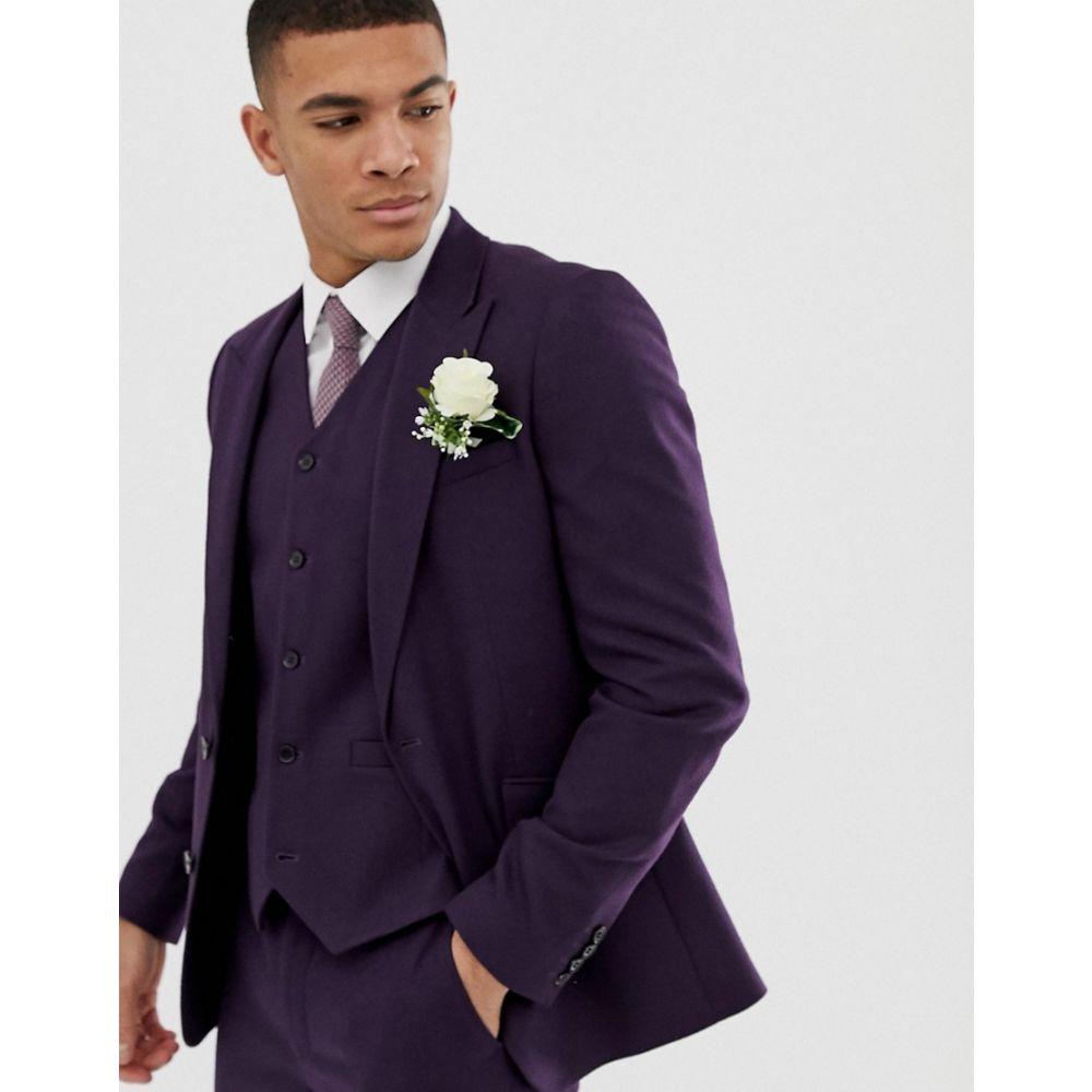 エイソス ASOS DESIGN メンズ アウター スーツ・ジャケット【wedding skinny suit jacket in purple micro texture】Purple