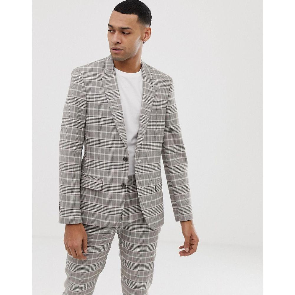 エイソス ASOS DESIGN メンズ アウター スーツ・ジャケット【skinny suit jacket in stone check】Stone