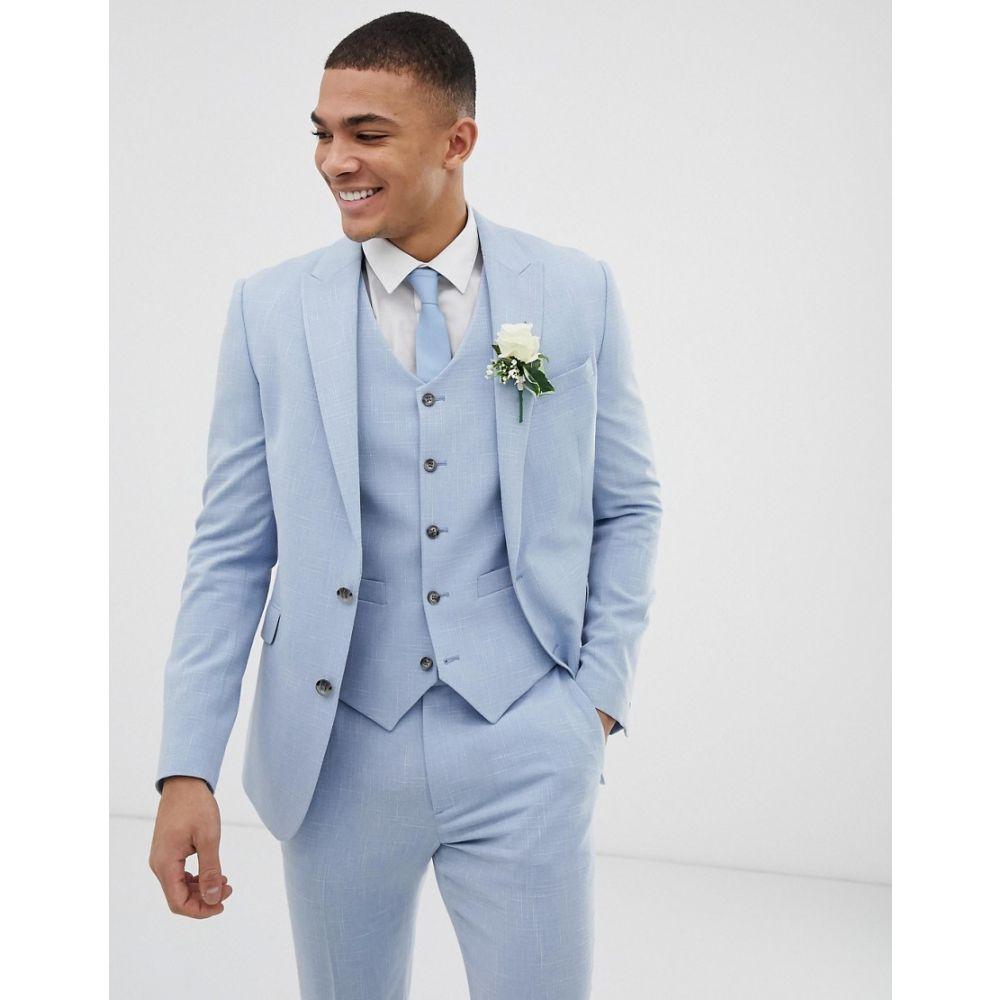 エイソス ASOS DESIGN メンズ アウター スーツ・ジャケット【wedding skinny suit jacket in blue cross hatch】Light blue