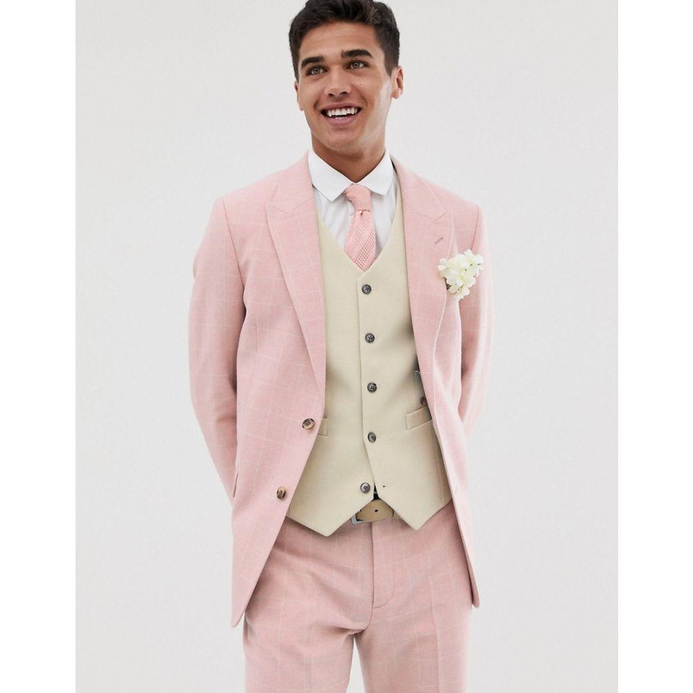 エイソス ASOS DESIGN メンズ アウター スーツ・ジャケット【wedding slim suit jacket in pink wool blend check】Pink
