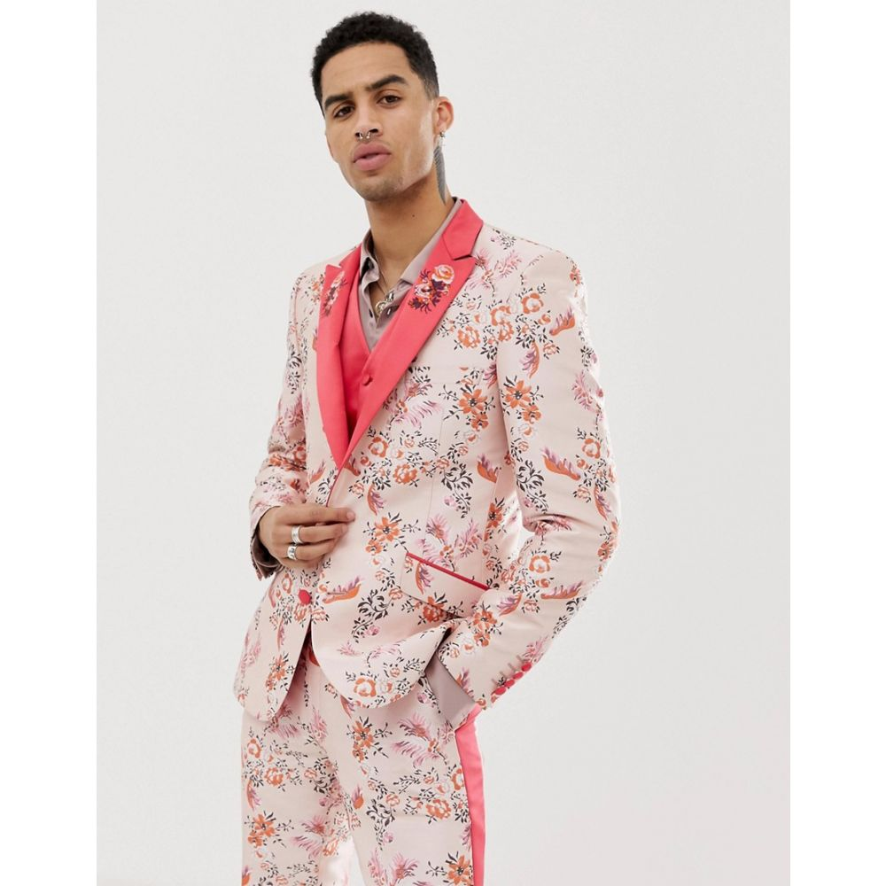 エイソス ASOS EDITION メンズ アウター スーツ・ジャケット【skinny suit jacket in pink floral jacquard with embroidered lapel】Pink