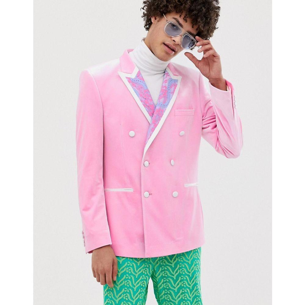 エイソス ASOS EDITION メンズ アウター スーツ・ジャケット【slim suit jacket in lace detail】Pink