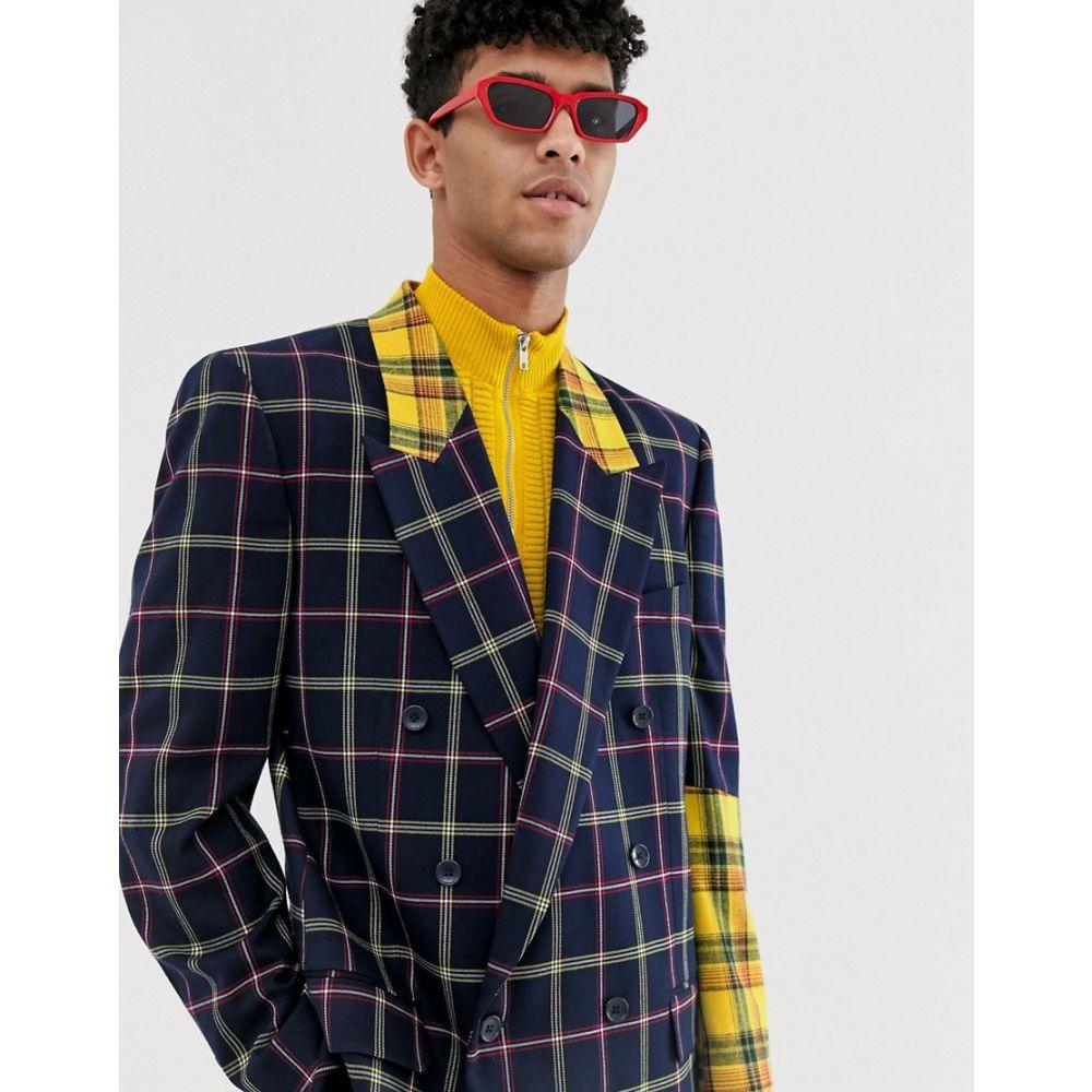 エイソス ASOS DESIGN メンズ アウター スーツ・ジャケット【oversized double breast suit jacket with yellow contrast check sleeve】Blue
