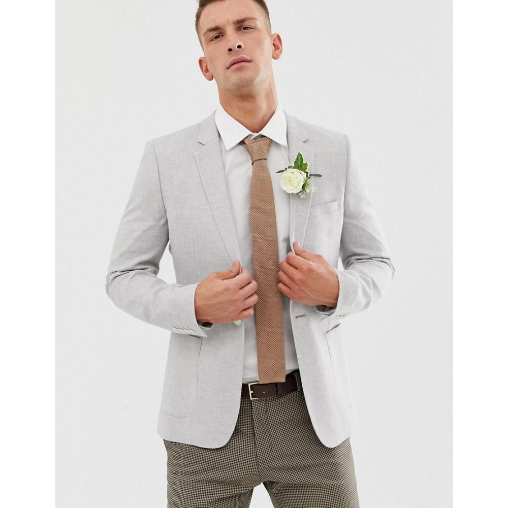エイソス ASOS DESIGN メンズ アウター スーツ・ジャケット【wedding super skinny blazer in ice grey linen】Grey