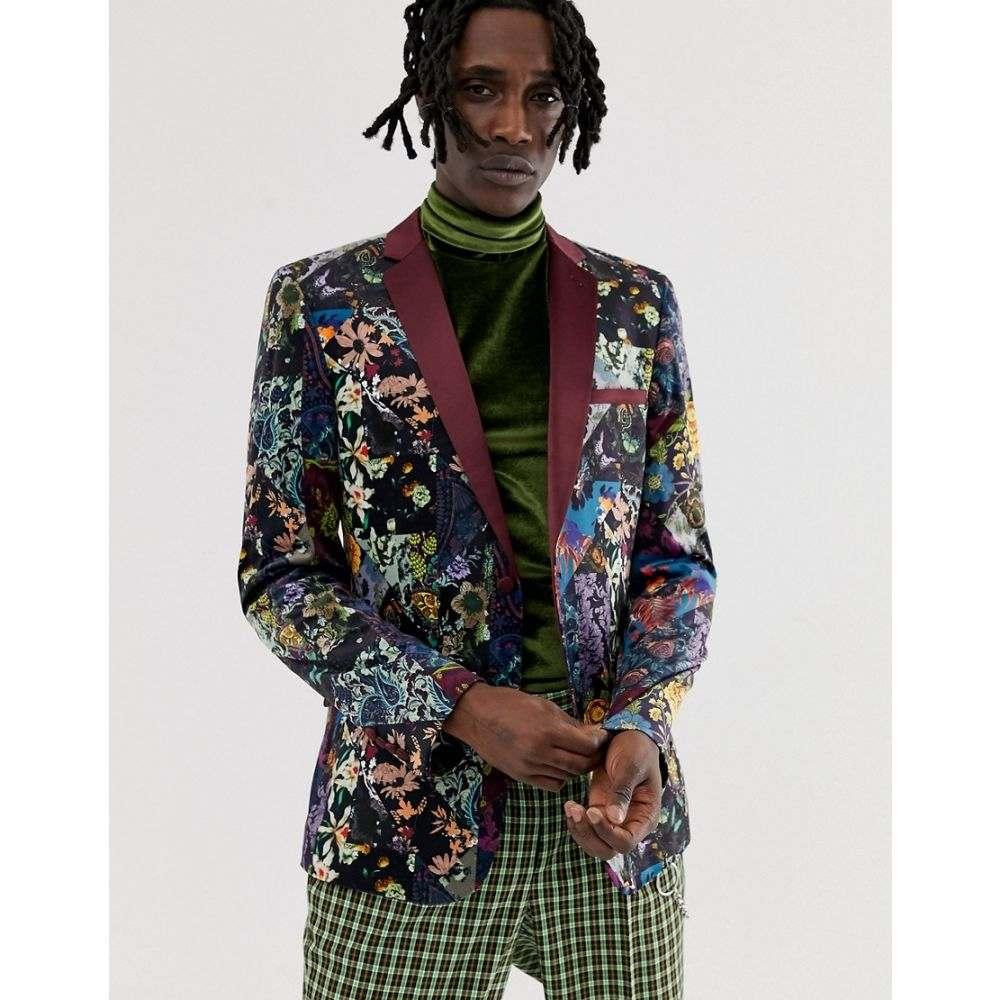 エイソス ASOS EDITION メンズ アウター スーツ・ジャケット【skinny blazer in purple floral patchwork velvet】Purple