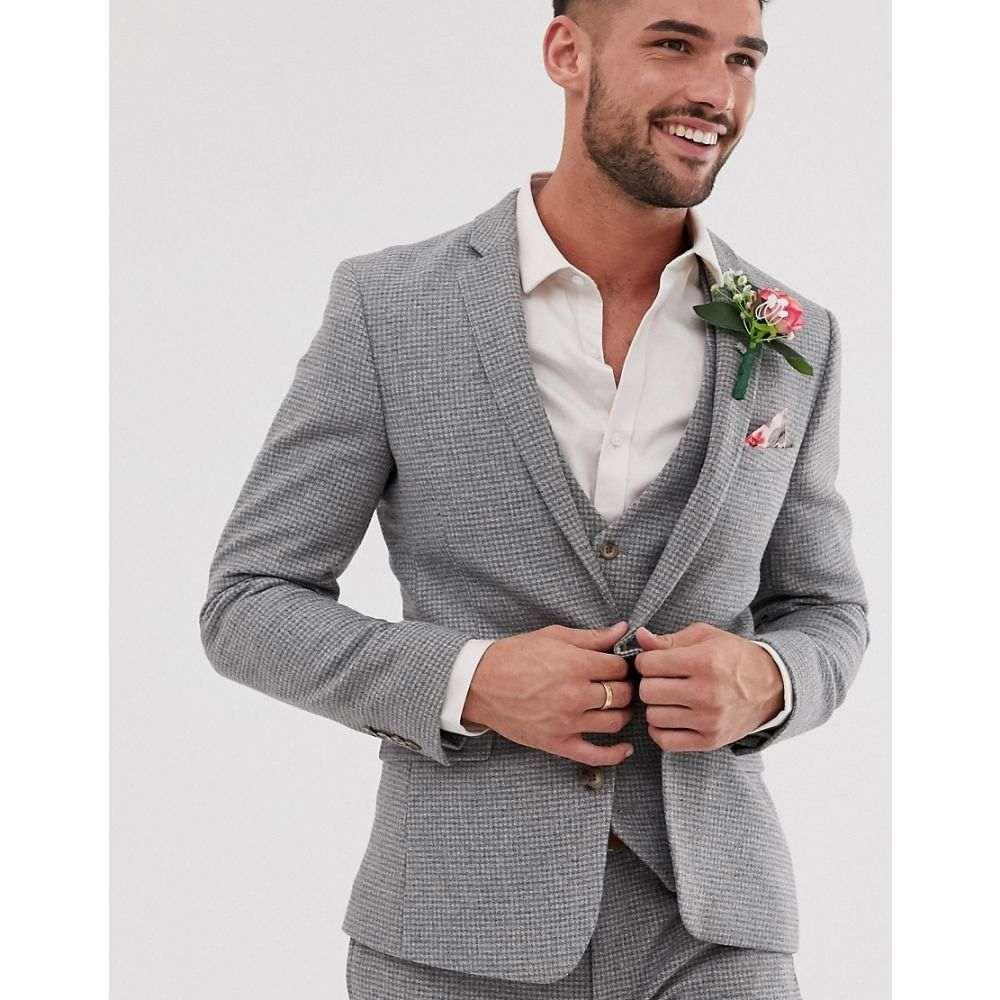 エイソス ASOS DESIGN メンズ アウター スーツ・ジャケット【wedding super skinny suit jacket in grey micro houndstooth】Grey