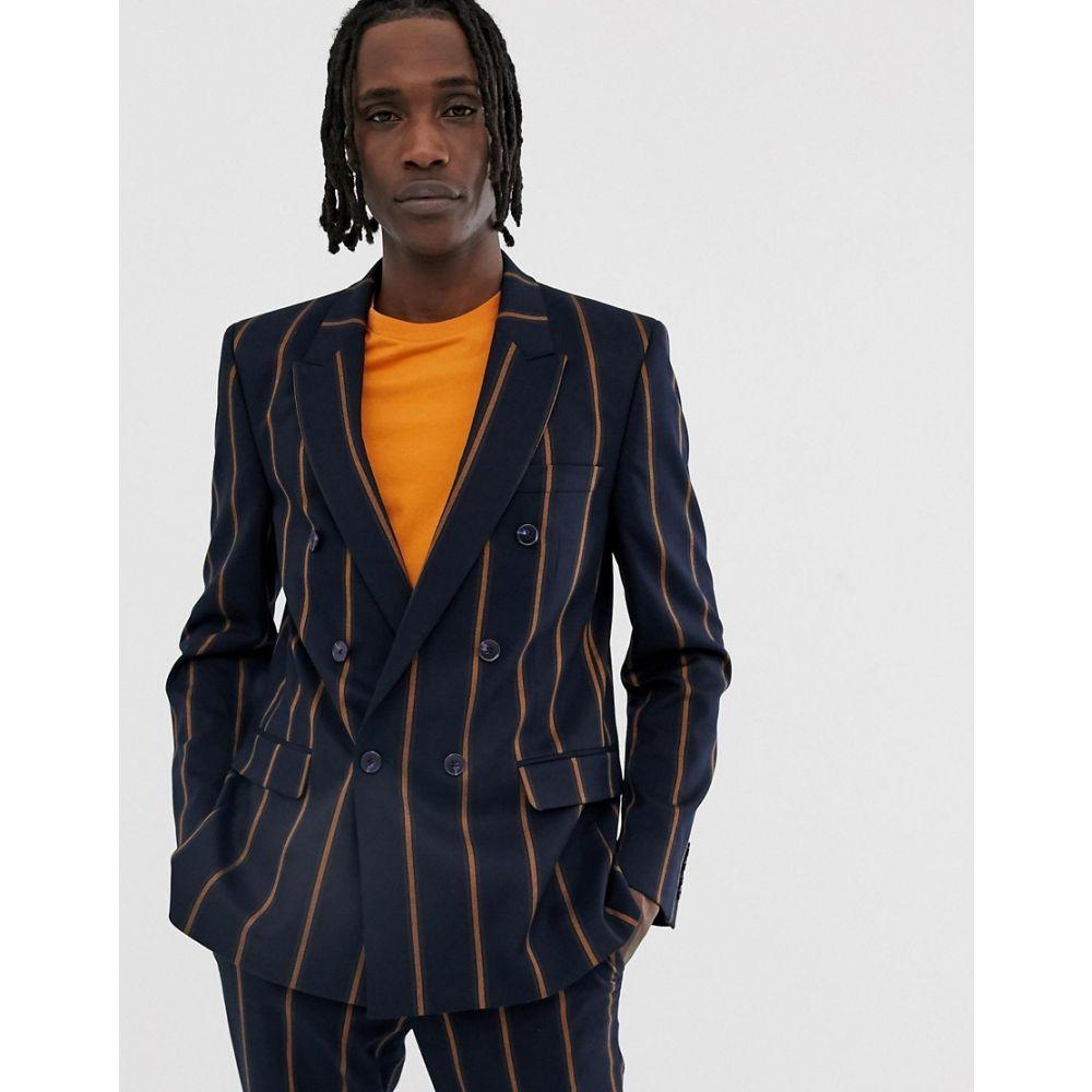 エイソス ASOS DESIGN メンズ アウター スーツ・ジャケット【slim double breasted suit jacket in navy wide stripe】Navy