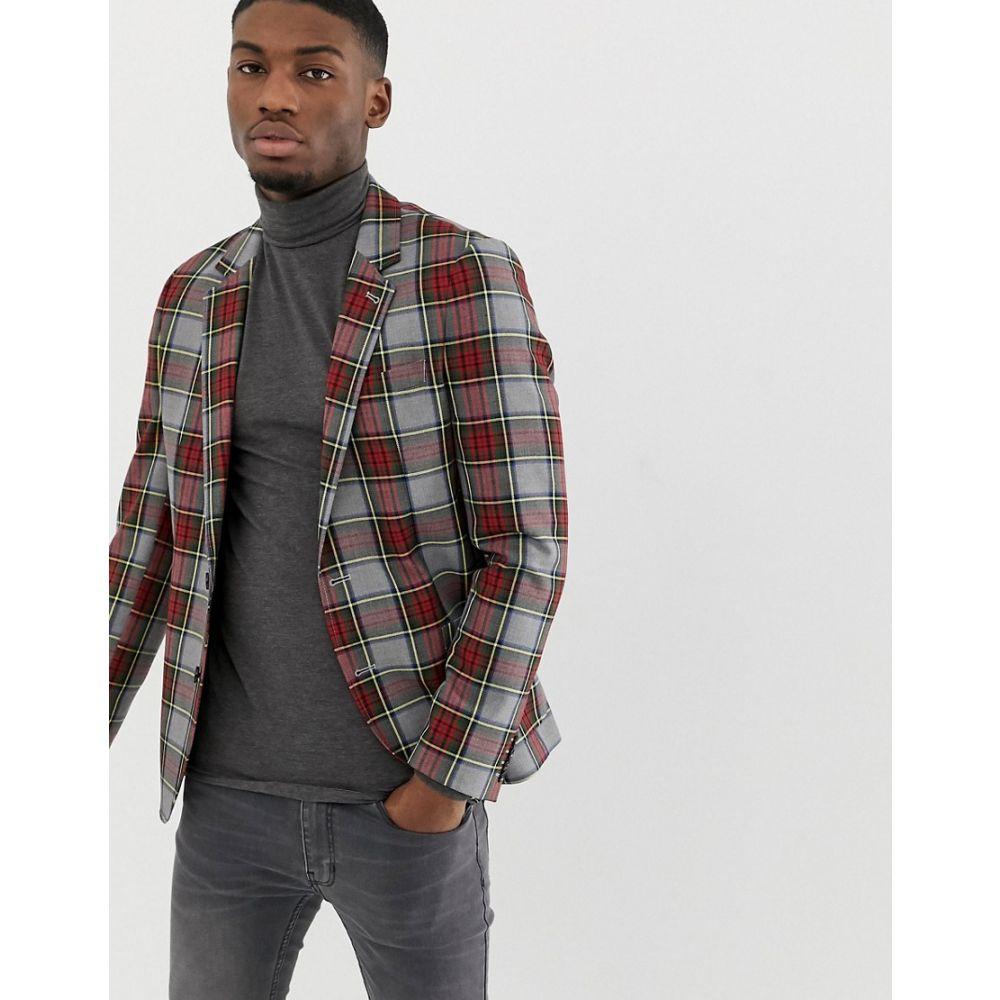 エイソス ASOS DESIGN メンズ アウター スーツ・ジャケット【slim blazer in grey with tartan check】Grey