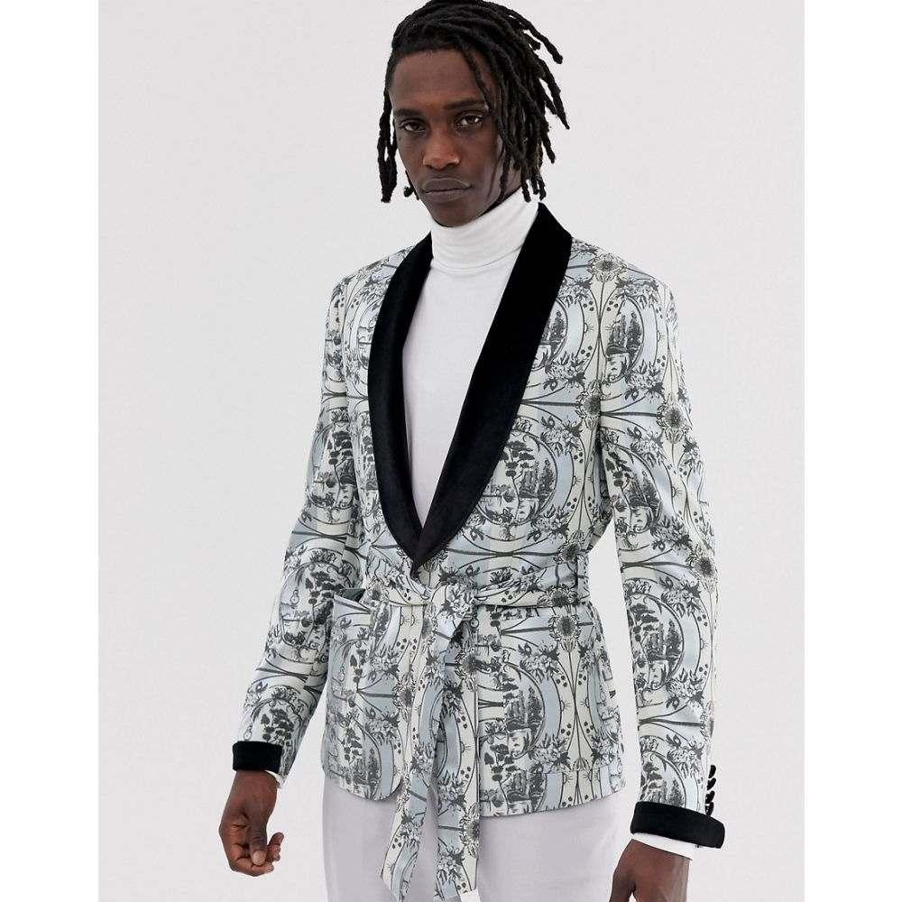 エイソス ASOS EDITION メンズ アウター スーツ・ジャケット【skinny blazer jacket with all over monochrome print and velvet collar】Black