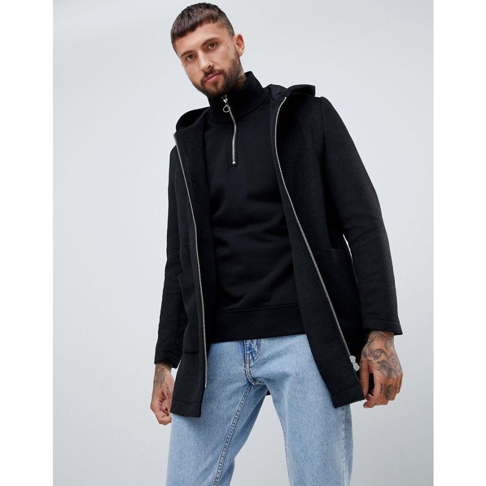 エイソス ASOS DESIGN メンズ アウター コート【wool mix hooded overcoat in black】Black