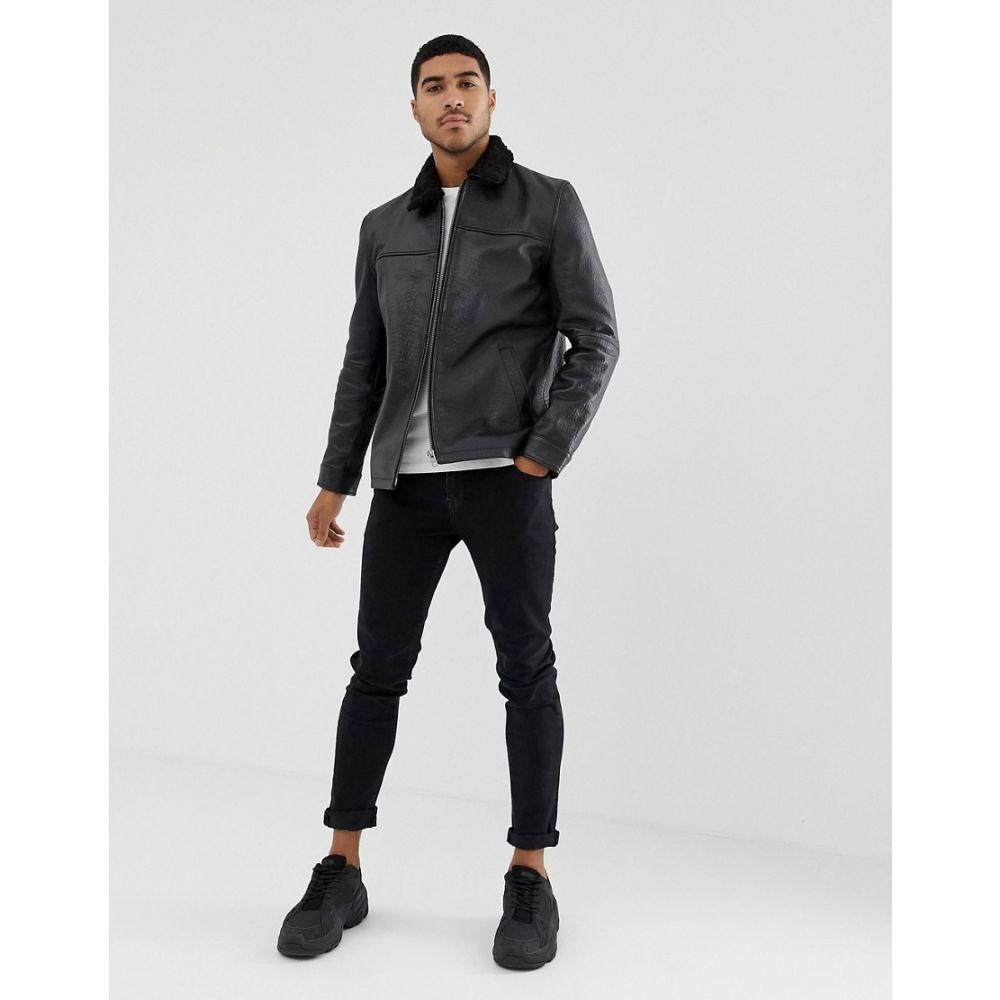 エイソス ASOS DESIGN メンズ アウター レザージャケット【leather flight jacket with fur collar in black】Black