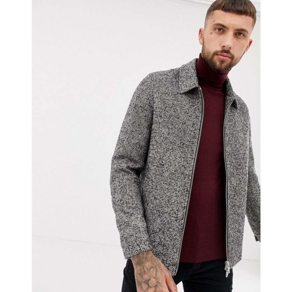 エイソス ASOS DESIGN メンズ アウター ジャケット【wool mix zip through jacket in grey check】Grey