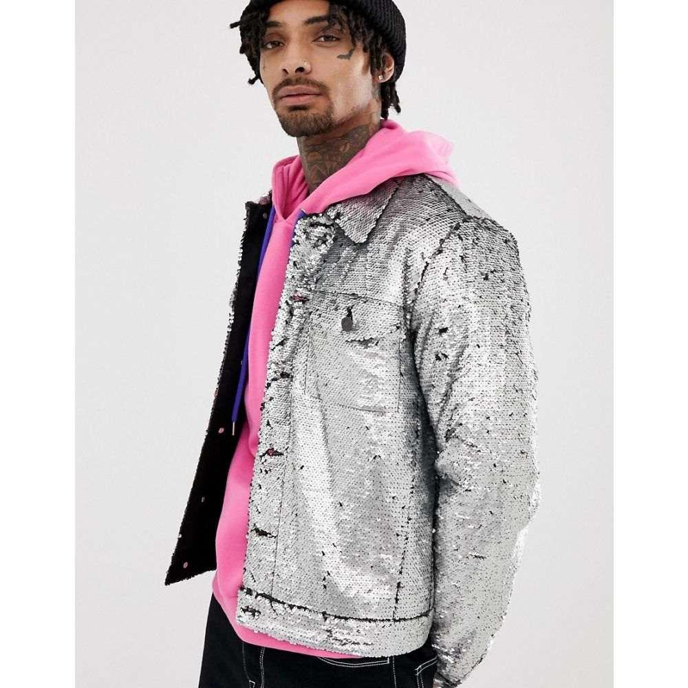 エイソス ASOS DESIGN メンズ アウター ジャケット【Festival western sequin jacket in silver】Silver