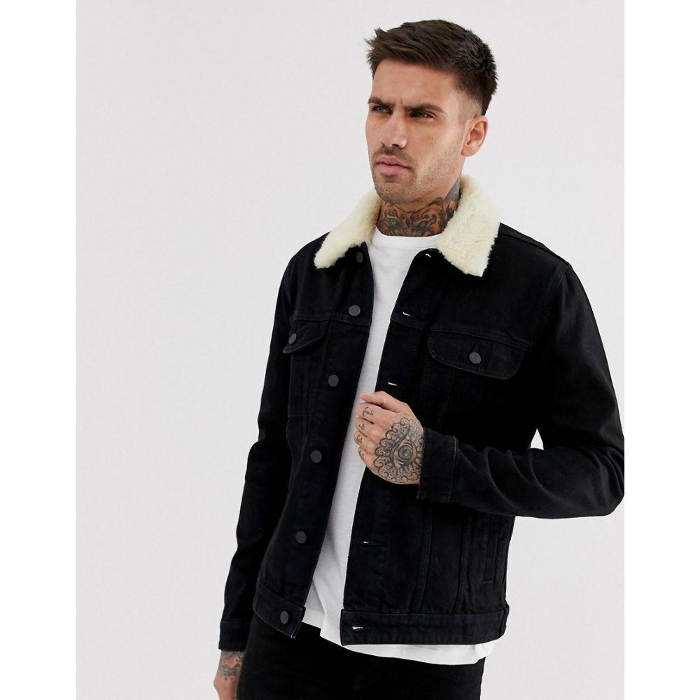 エイソス ASOS DESIGN メンズ アウター ジャケット【denim jacket with detachable borg collar in black】Black