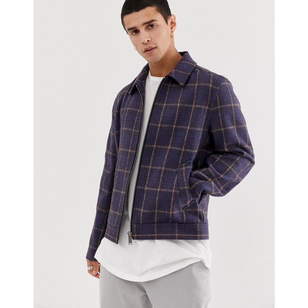 エイソス ASOS DESIGN メンズ アウター ジャケット【unlined wool mix zip through jacket in navy check】Navy