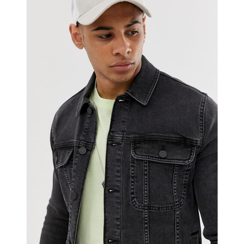 エイソス ASOS DESIGN メンズ アウター ジャケット【skinny western denim jacket in washed black】Washed black