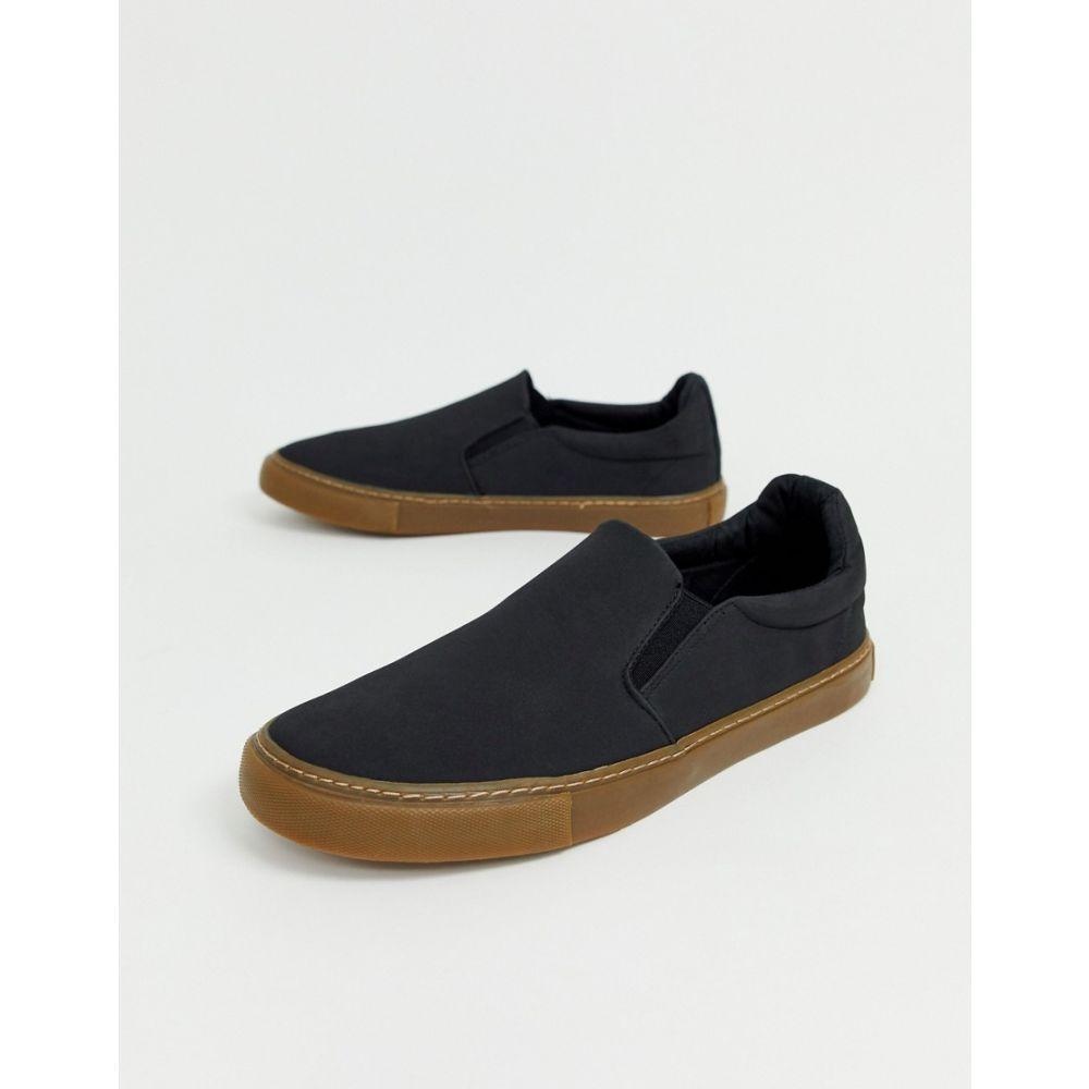 エイソス ASOS DESIGN メンズ シューズ・靴 スリッポン・フラット【slip on plimsolls in black with gum sole】Black